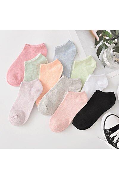 8 Çift Koton Ekonomik Karışık Renk Kadın Patik Çorap