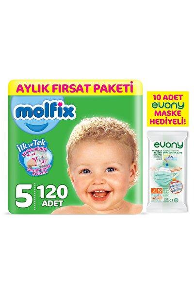 Bebek Bezi 5 Beden Junior Aylık Fırsat Paketi 120 Adet + Evony Maske 10'lu Hediyeli