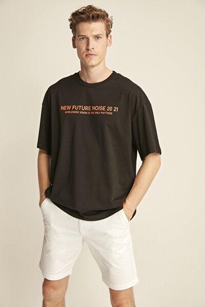 WESLEY Siyah Erkek Basic On Beden Baskili Bol Kesim T-shirt