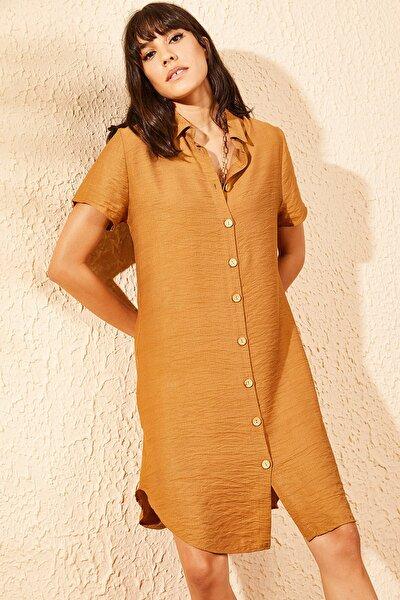 Kadın Taba V Yaka Düğmeli Viskon Gömlek Elbise 10041003