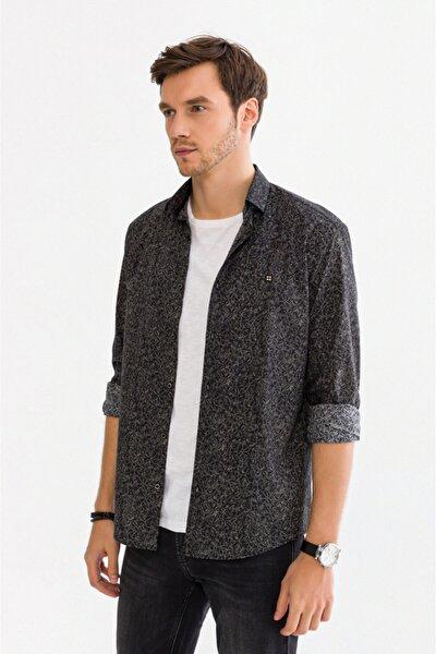 Erkek Antrasit Baskılı Düğmeli Yaka Slim Fit Gömlek A92S2292