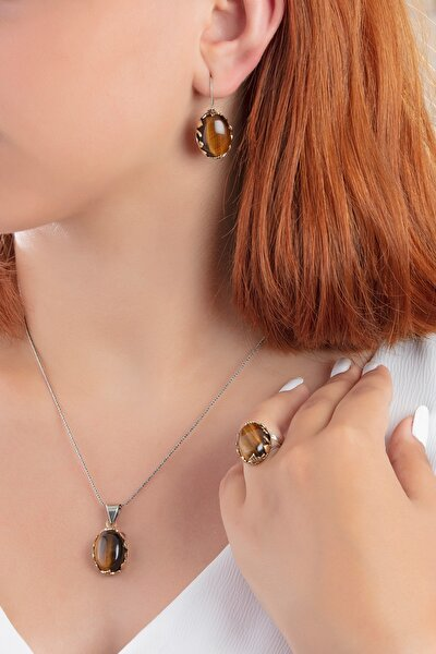 Kadın Dogal Kaplan Gözü Taşlı Tugra Ve Vav Modelli Otantik Gümüş Set