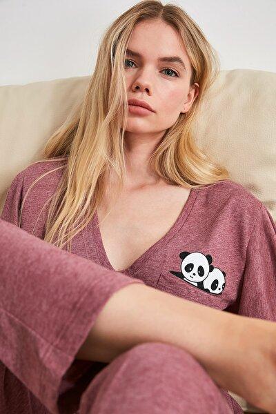 Bordo Panda Baskılı Örme Pijama Takımı THMSS20PT0172