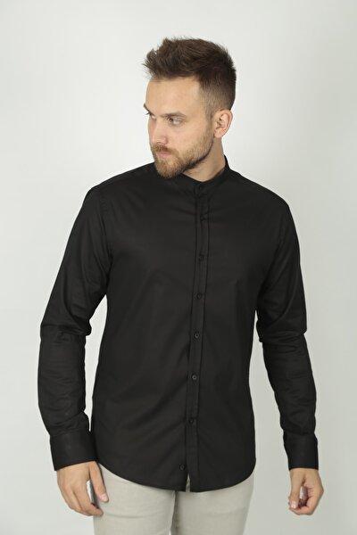 Hakim Yaka Siyah Klasik Gömlek