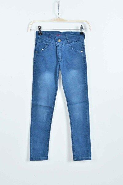 Kız Çocuk Mavi Likralı Kot Pantolon