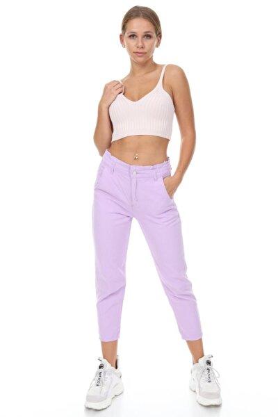 Kadın Lila Mom Fit Pantolon