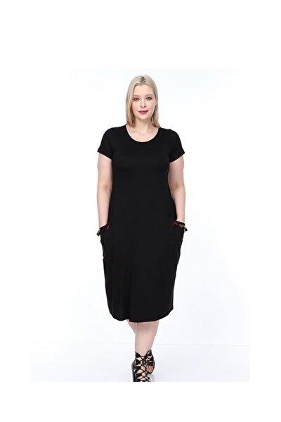 Kadın Siyah  Cepleri Püsküllü Viskon Likralı Elbise