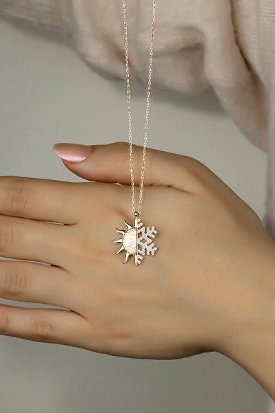 925 Ayar Gümüş Kar Tanesi - Güneş Kolye