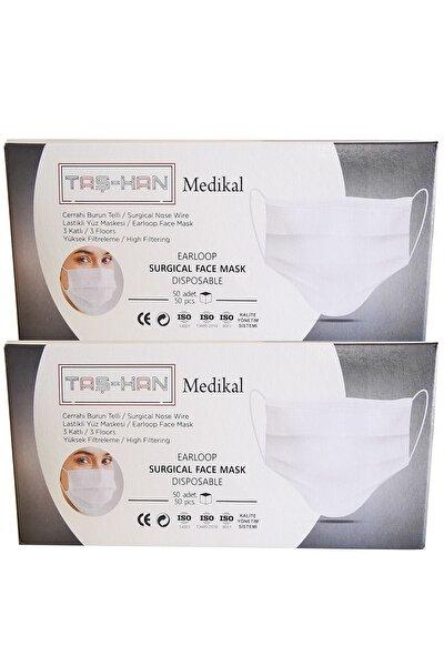 Taş-han Cerrahi Maske, 3 Katlı, Dikişsiz, Burun Telli, Yumuşak Lastikli 2 X 50 ( 100 Adet )