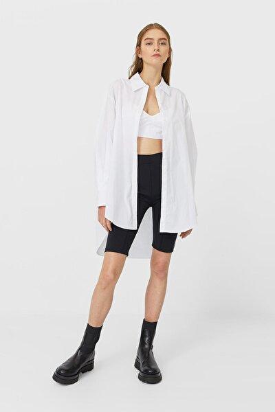 Kadın Beyaz Bralet Detaylı Oversize Gömlek 08157188