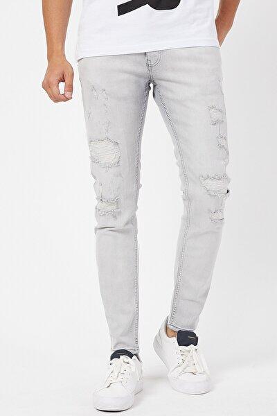 Gri Yırtık Erkek Super Skinny Jean