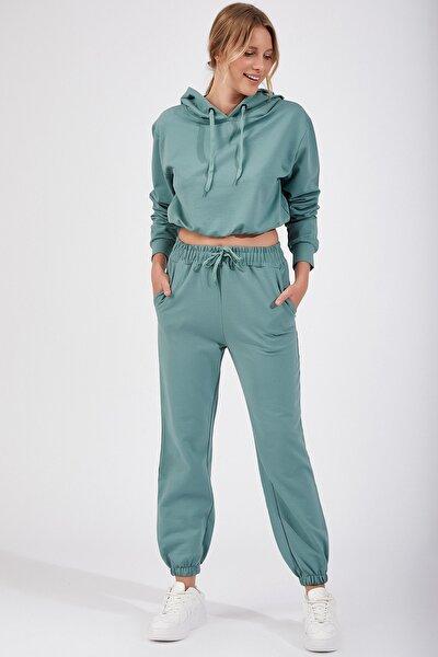Kadın Çağla Yeşili Kapüşonlu Sweat Eşofman Takımı LD00016