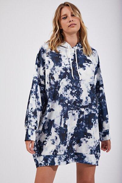 Kadın İndigo Mavi Desenli Oversize Sweat Elbise  DD00511