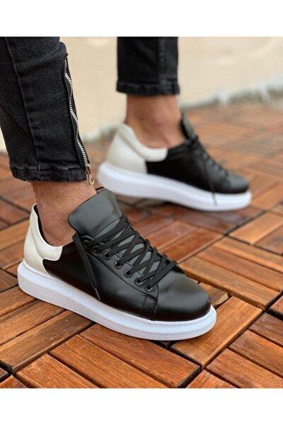 Erkek Siyah Beyaz Günlük Spor Sneaker Ayakkabı  Fp256