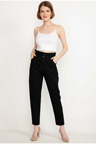 Kadın Siyah Beli Lastik Detay Kot Pantolon