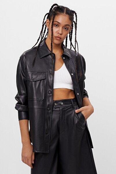 Kadın Siyah Suni Deri İnce Ceket