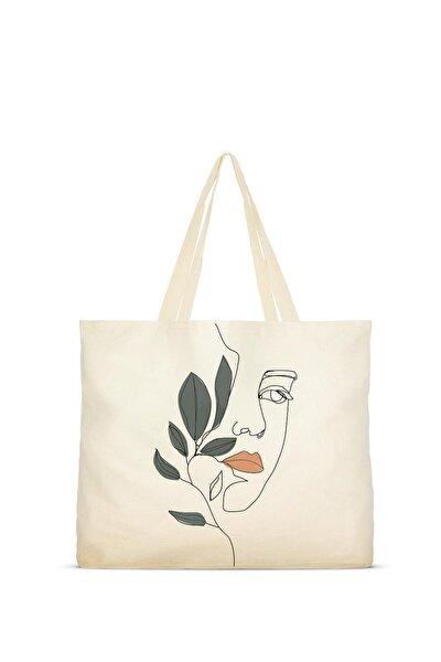 Yaprak Ve Kız Baskılı Ham Bez Çanta