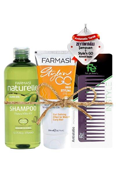 Naturelle Zeytinyağlı Şampuan-375ml&kıvırcık Saçlar Için Saç Kremi-200 Ml&fe Tarak 123