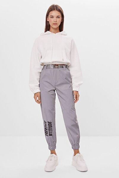 Kadın Gümüş Renk Reflektör Jogging Fit Pantolon