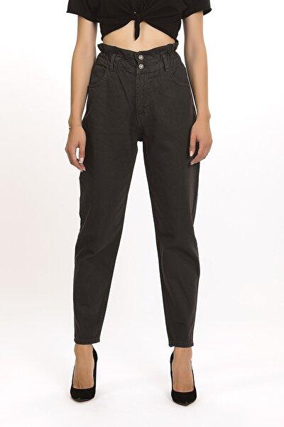 Kadın Beli Kemerli Yüksek Bel Antrasit Renk Baggy Jean