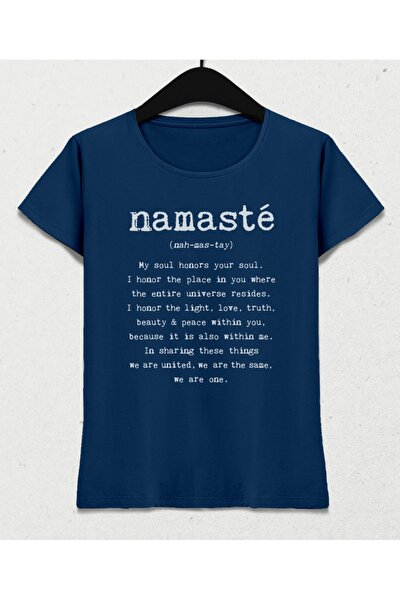 Nah-mas-tay Yoga Kadın Indigo Tişört