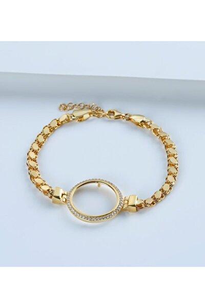 925 Ayar Gümüş Çeyrek Altın Için Pullu Zincir Bileklik