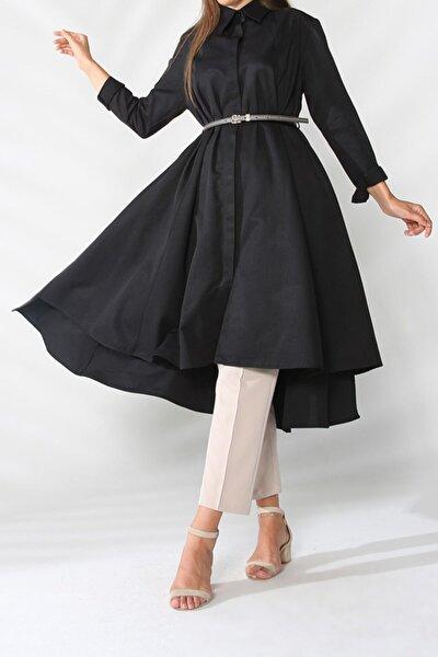 Siyah Kemerli Kloş Gömlek Tunik