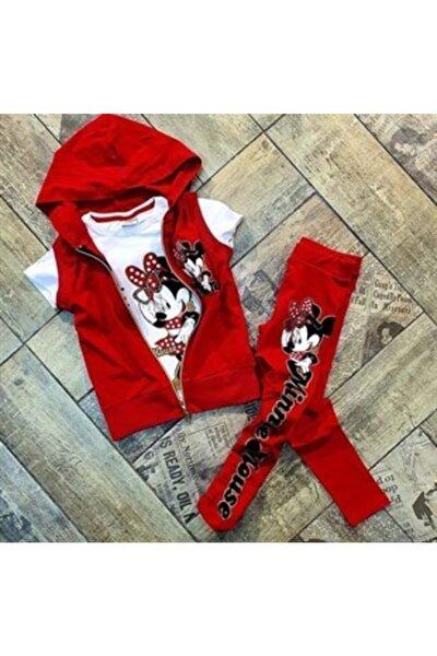Yelekli Minnie Mickey 3lü Kız Çocuk Takım