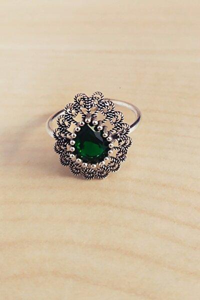 Gümüş Oksitli Telkari Yeşil Kök Zümrüt Taşlı Yüzük
