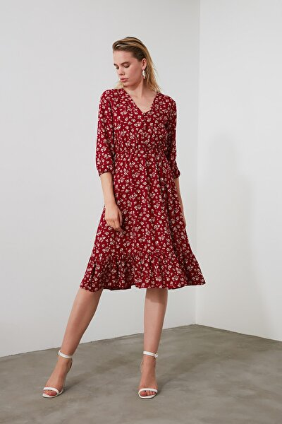 Bordo Çiçekli Düğmeli Elbise TWOSS20EL0577