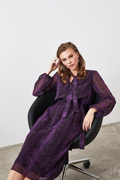 Çok Renkli Kuşaklı Desenli Elbise TWOAW21EL0458
