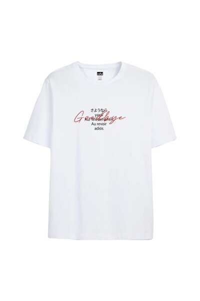 Unisex Beyaz Goodbye Tshirt
