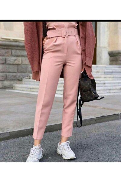 Kadın Pudra Renk Kemerli Pantolon