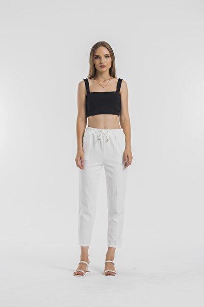 Kadın Beyaz Cepli Havuç Pantolon