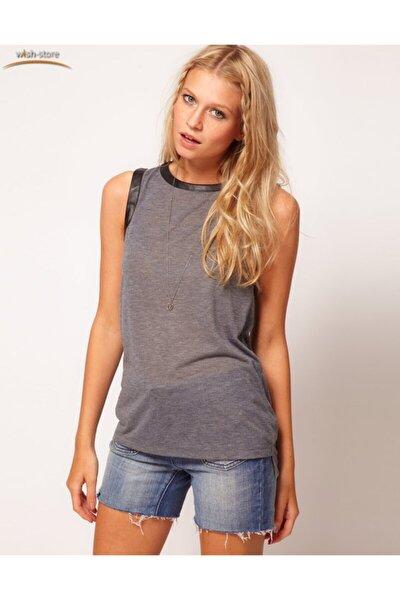 Kadın Gri Kolsuz T Shirt