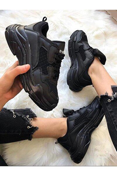 Siyah Yüksek Taban Unisex Sneakers Ayakkabı