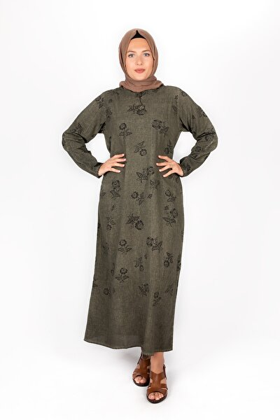 Kadın Şile Bezi Uzun Kollu Haki Elbise