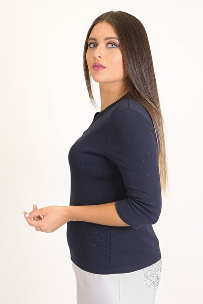 Kadın Lacivert Büyük Beden Bluz