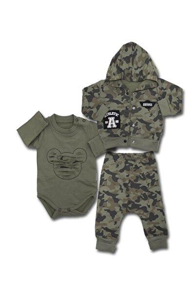 Kapşonlu Kamuflajlı Mikili 3 Lü Bebek Takımı K3329