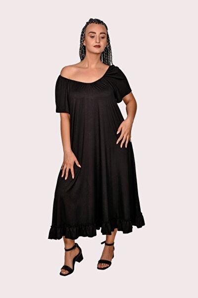Kadın Siyah Yaka Büzgülü Elbise