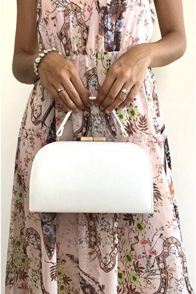 Beyaz Renk Silindir Model Abiye Çanta