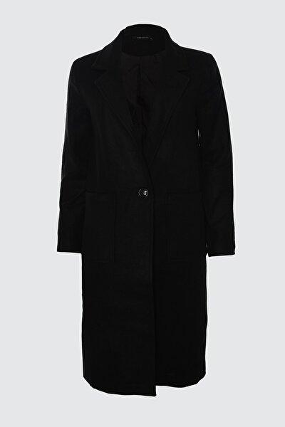 Siyah Düğmeli Uzun Kaşe Kaban TWOAW20KB0043