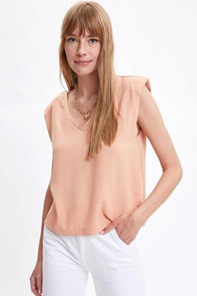 Kadın Coral Vatkalı V Yaka Basic Trend Tişört S6974AZ20HS