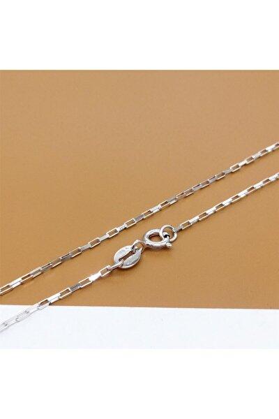 Gümüş Italya Üretim Köşeli Model 925 Ayar Gümüş Zincir Kolye Rodyumlu Erkek Kadın Unisex 1.sınıf