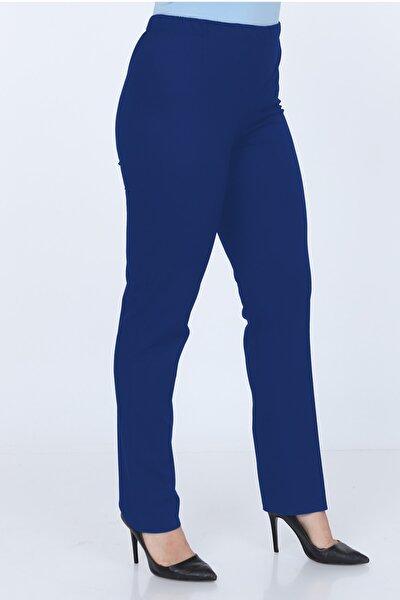 Kadın İndigo Büyük Beden Beli Lastikli Pantolon G00lp