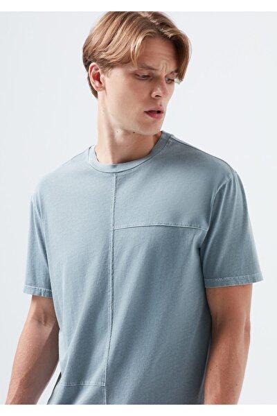 Erkek Gri Kesik Detaylı Tişört