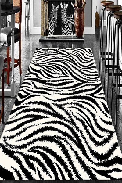 Dijital Baskılı Kaymaz Taban Yıkanabilir Siyah Beyaz Zebra Desenli Salon Halısı