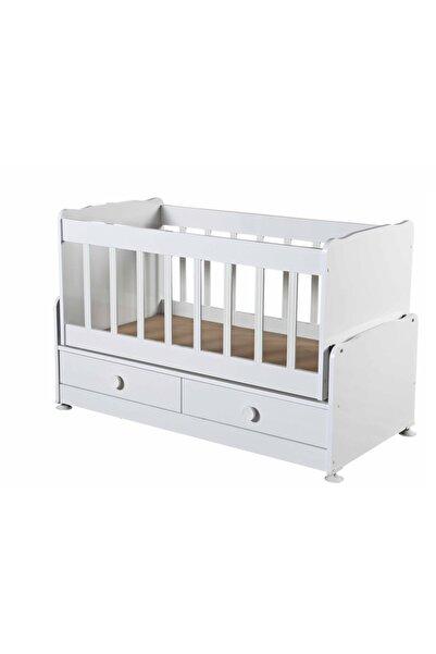 Diverso Beyaz Home Çekmeceli Sallanır Anne Yanı Ahşap Bebek Beşiği D201