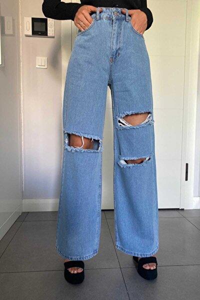 Kadın Mavi Bol Paça Yırtık Jeans