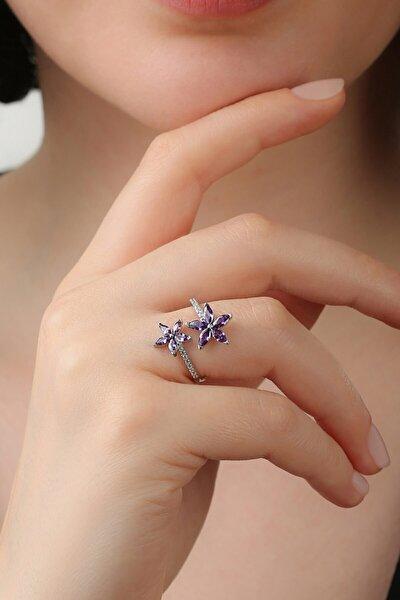 Sevda Çiçeği Ametist Ayarlanabilir Gümüş Yüzük